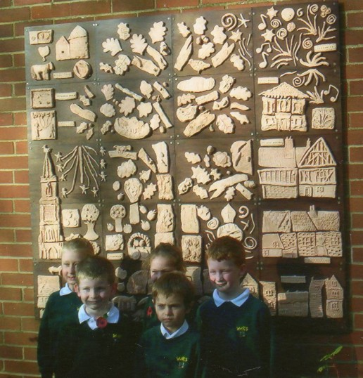 School plaque made by children of Wilburton school as part of the CCAN project