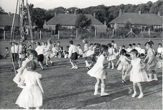 Wilburton School children  on their playing field.