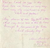 Poem written by Alma Marchant of Wilburton.