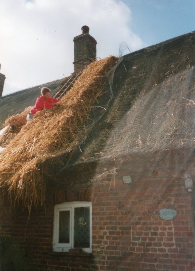 Thatching a house in Wilburton
