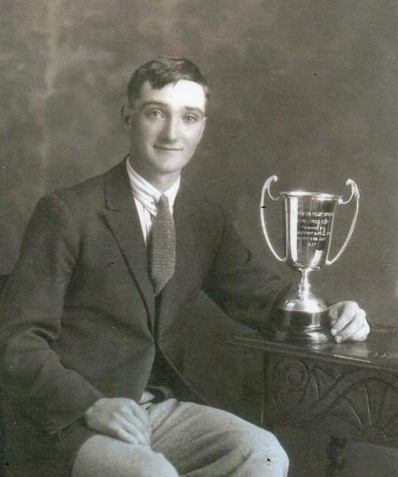 Wilburton man with cricket trophy