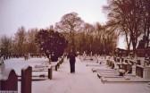 Snow in Wilburton cemetery.