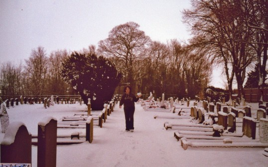 Snow in Wilburton cemetery.