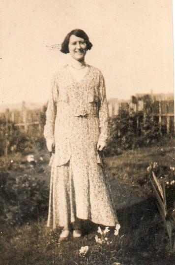 Doris Moxon in a long dress  at Wilburton