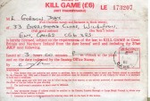 Licence to kill Game issued by the British Field Sports Society.