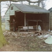Old tool shed on the recreation ground, being demolished at Wilburton.