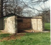 New tool shed taking shape, recreation ground Wilburton.