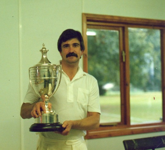 Captain Geoff Freeman-Smith with C.C.A. Junior League Cup at Wilburton.