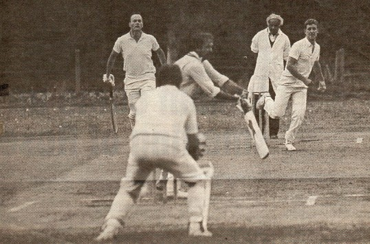 Wilburton's Paul Morris bowling against Waterbeach.