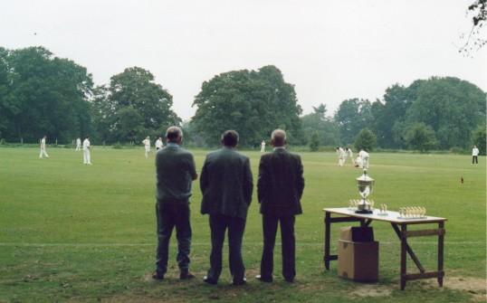 Junior League cup at Wilburton, awaiting  presentation.