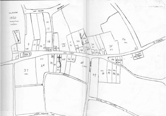 Map of building and land ownership along the High Street from 1820.