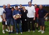 The Wilburton Beer Festival crew receive a giant cookie from Q103 whilst setting up for the 2005 Beer Festival.