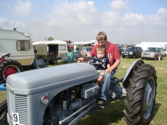 Justin Warren and son Alfie on a 1953 Ferguson at the 2007 Haddenham Steam Rally.
