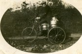 Arthur Seppings on his bicycle and side car on milk round