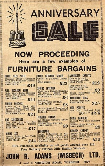 An Advertisement Published In The Isle Of Ely U0026 Wisbech Advertiser For John  R. Adams Furniture Store, Formerly Of 4 U0026 6 Norwich Road Wisbech.