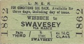 Wisbech.Single Rail ticket to Swavesey.Fare 4/7d