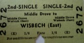 Wisbech LNER Single ticket Middle Drove to Wisbech East.