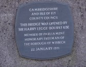 Wisbech Freedom Bridge Opening Commemoration Plaque. Copyright Owen Smithers.