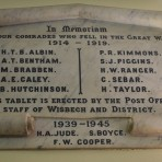 Wisbech WW1 & 2 Employees Killed in Action Plaque in the Main Post Office. Copyright Owen Smithers.