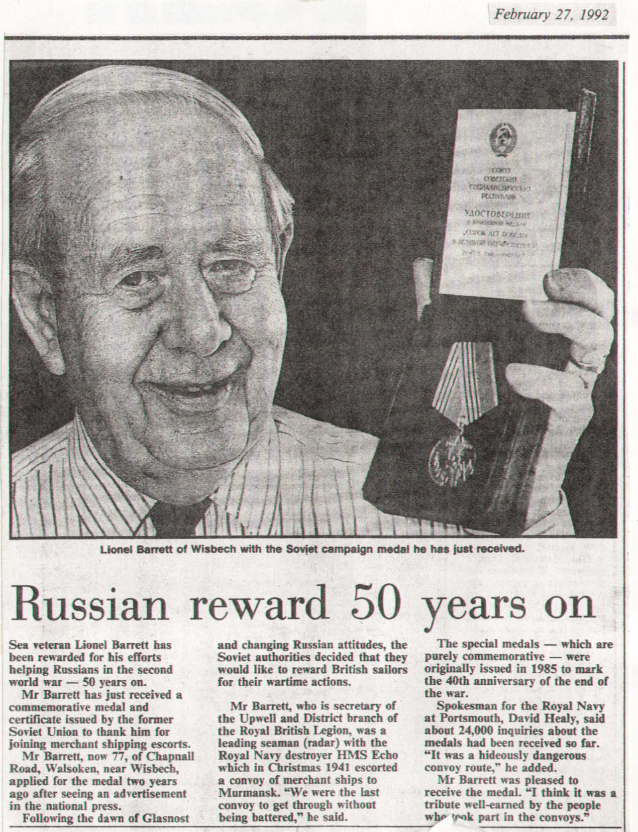 Local Wisbech Man Rewarded By Russia For Protecting Merchant Ships During The Second World War Copywritten