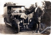 Albert Sawyer delivering newspapers to the village from his shop in Sutton.