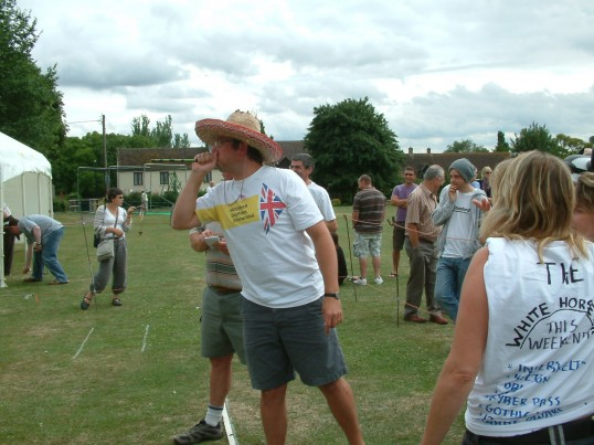 The 2009 World Pea Shooting Champion Jim Collins in action