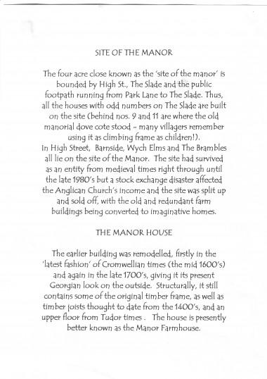 History of Manor Farmhouse