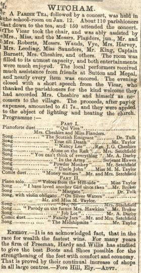 Newspaper report of music concert