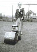 S Smith cutting the grass of the old cricket pitch, Witcham