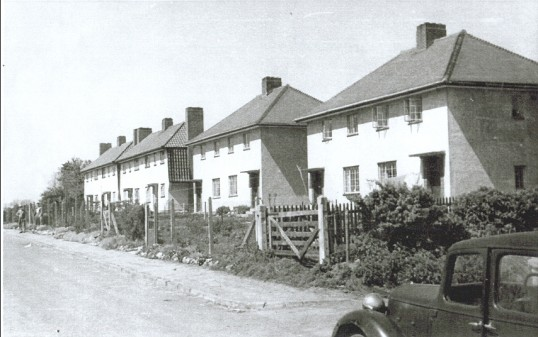 Council Houses, Silver Street, Witcham, Cambridgeshire. Foreground houses built 1946 and ones in the background pre World War 2.