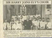 Harry Secombe's visit to Ely Cathedral singing with Witcham's St Martins Chuch Choir (Courtesy of the Ely Standard).