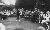 A Magician (Mr Coleridge) at the Church Fete in the vicarage gardens, now called Glebe Lodge, Witcham.