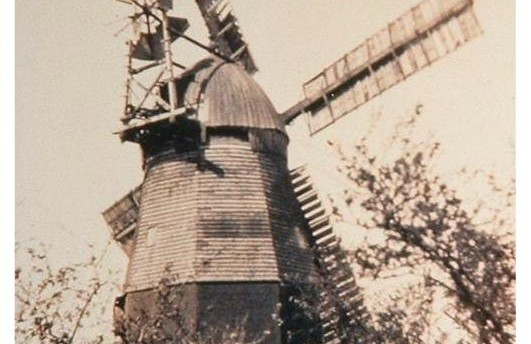 Woodditton windmill.Destroyed by fire after lightening strike 1931.