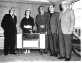 Yaxley's Headmaster Mr .V.Yarrow at his retirement, with Mrs Yarrow, Amos Crane, Rev Woodward & Mr Curnie at the Public Hall, Main St. Yaxley