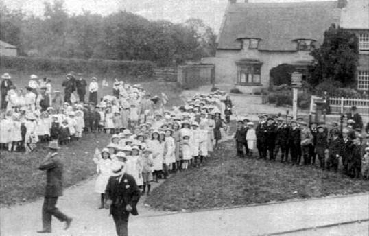Children gathering on the Green, Yaxley