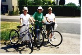 Yaxley N.S.P.C.C members, Mrs L.Norris, Mrs M Wiles and Mrs V. Barker setting off to do a Sponsored Cycle Ride for the Charity.