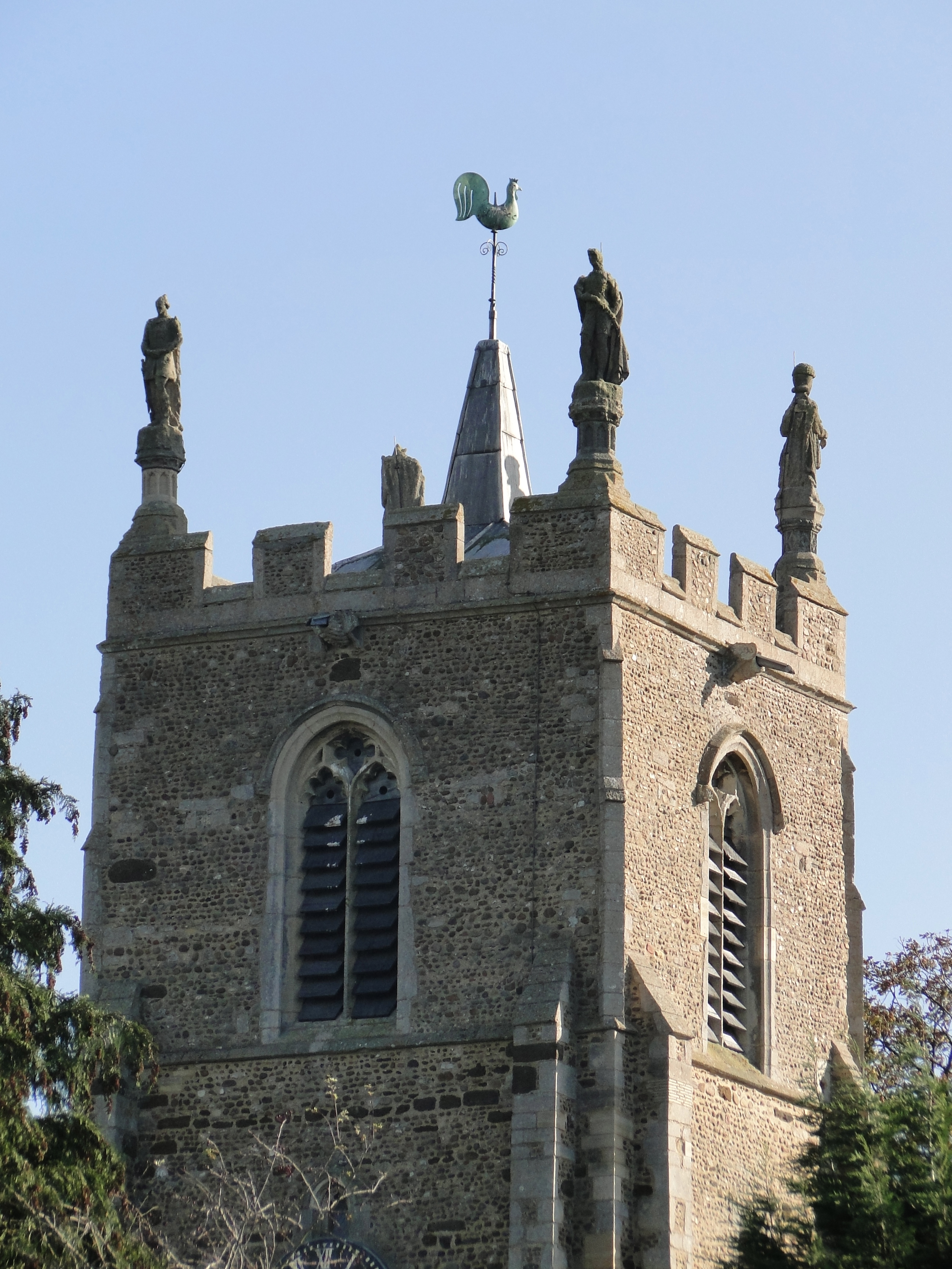 Four Statues on the Church Tower | St Margaret's Church | Abbotsley