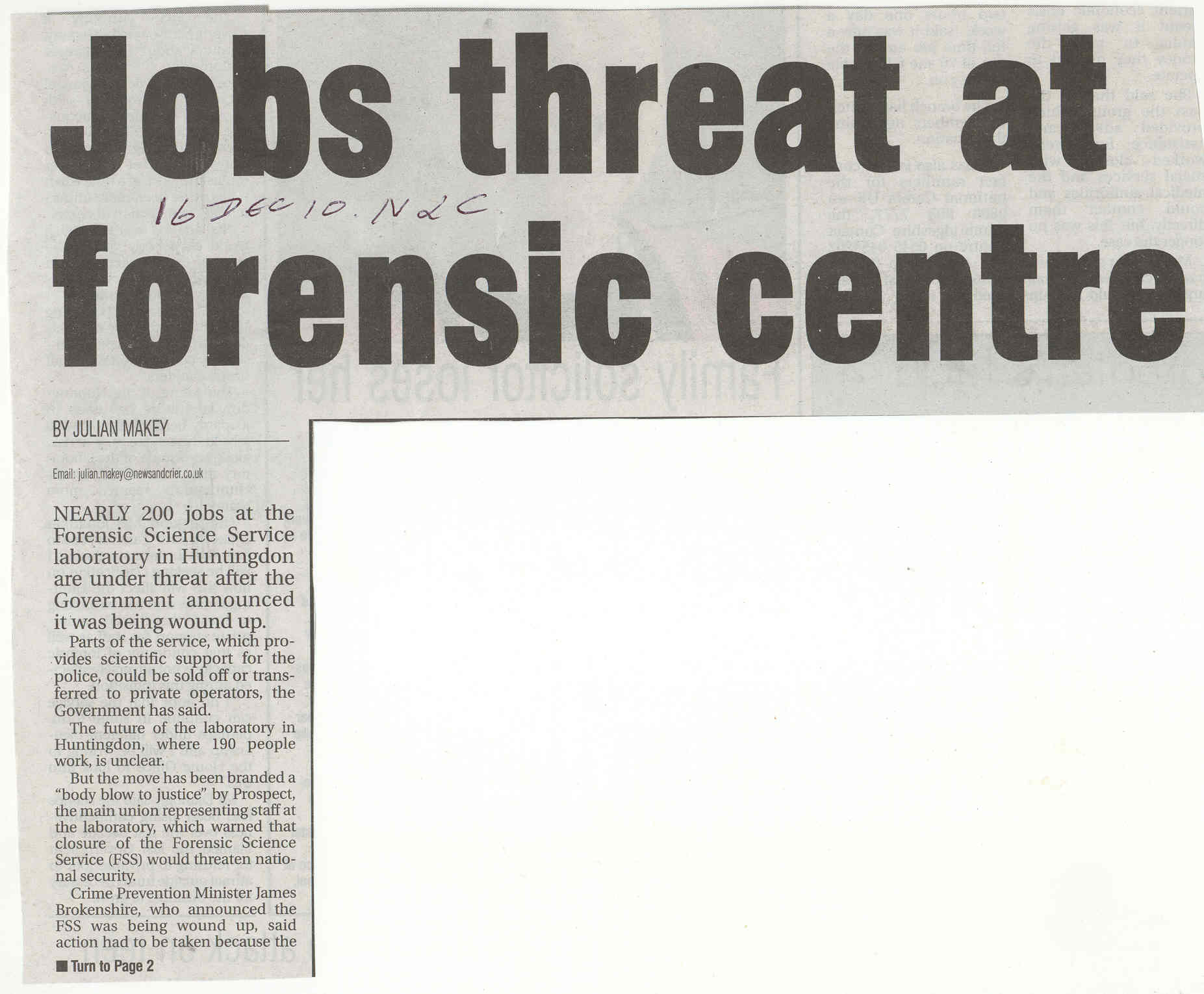 Threat to Huntingdon Forensic Centre  Source News and Crier