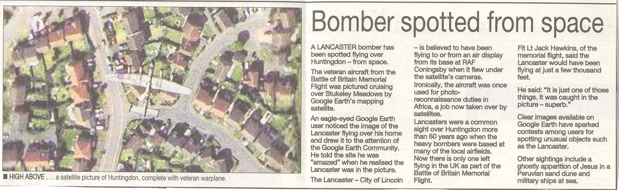 Lancaster bomber caught by Google Earth flying over Stukeley