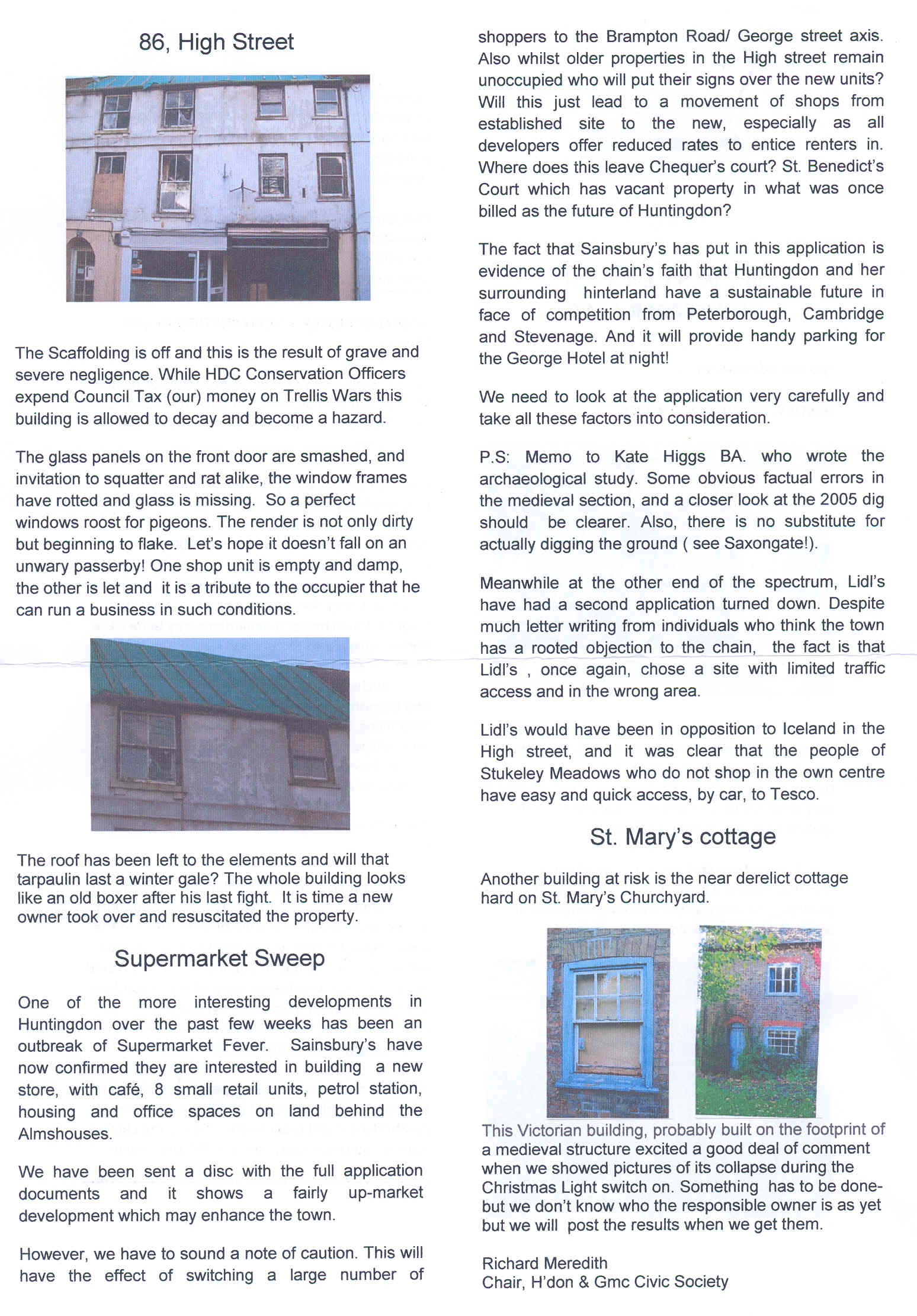 Civic Society news letter  | Newsworthy | Huntingdon