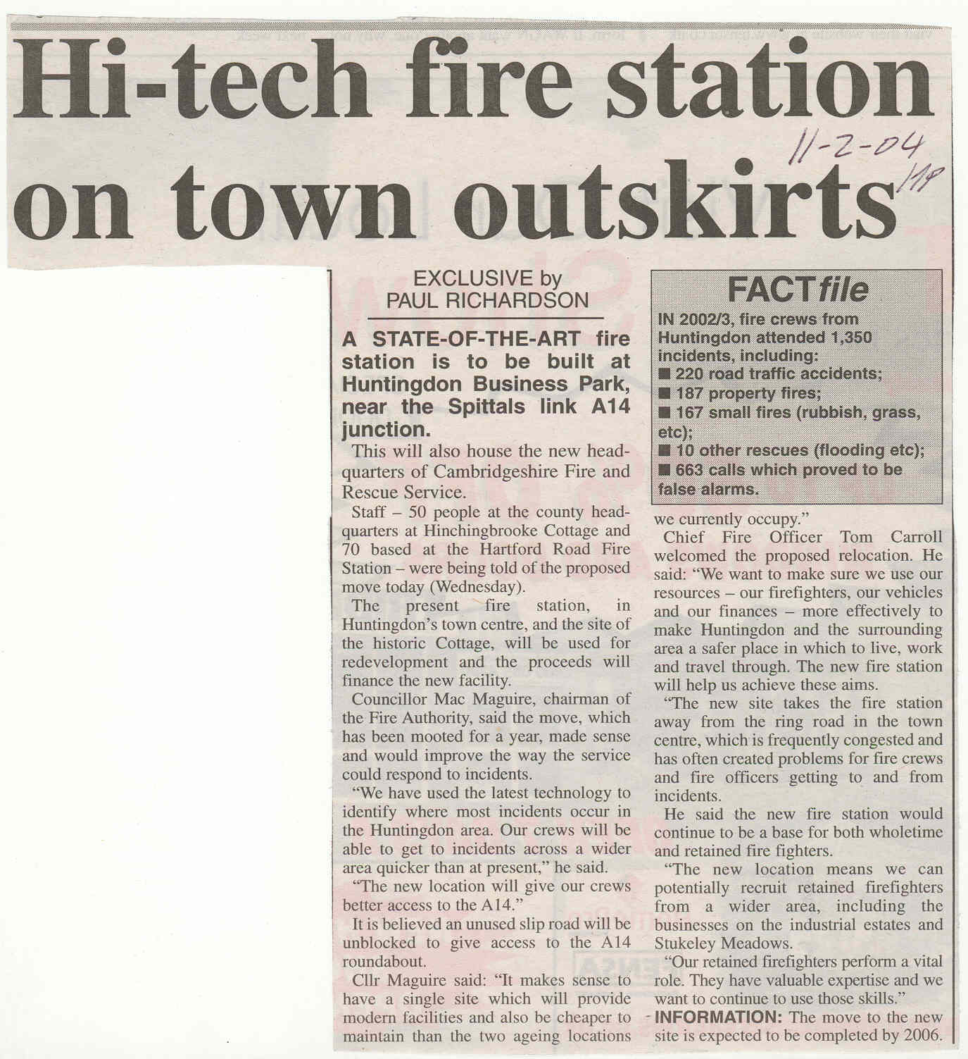 Plans for new fire station Source Hunts post  | Newsworthy