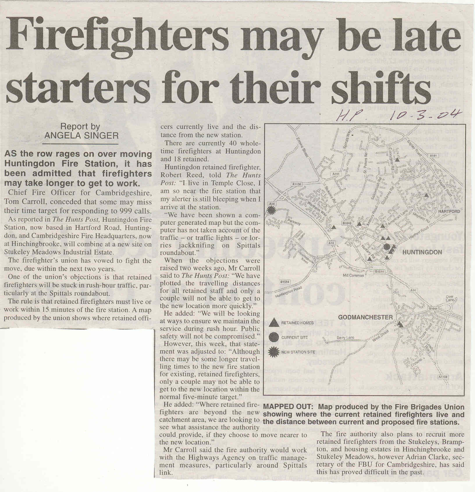 Firefighters Problems Source Hunts Post Newsworthy Huntingdon