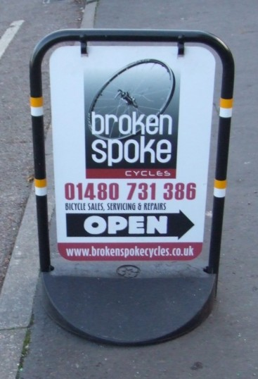 c226057ac5 Broken Spoke Cycle shop sign outside the shop in Eaton Socon - January 13th  2013