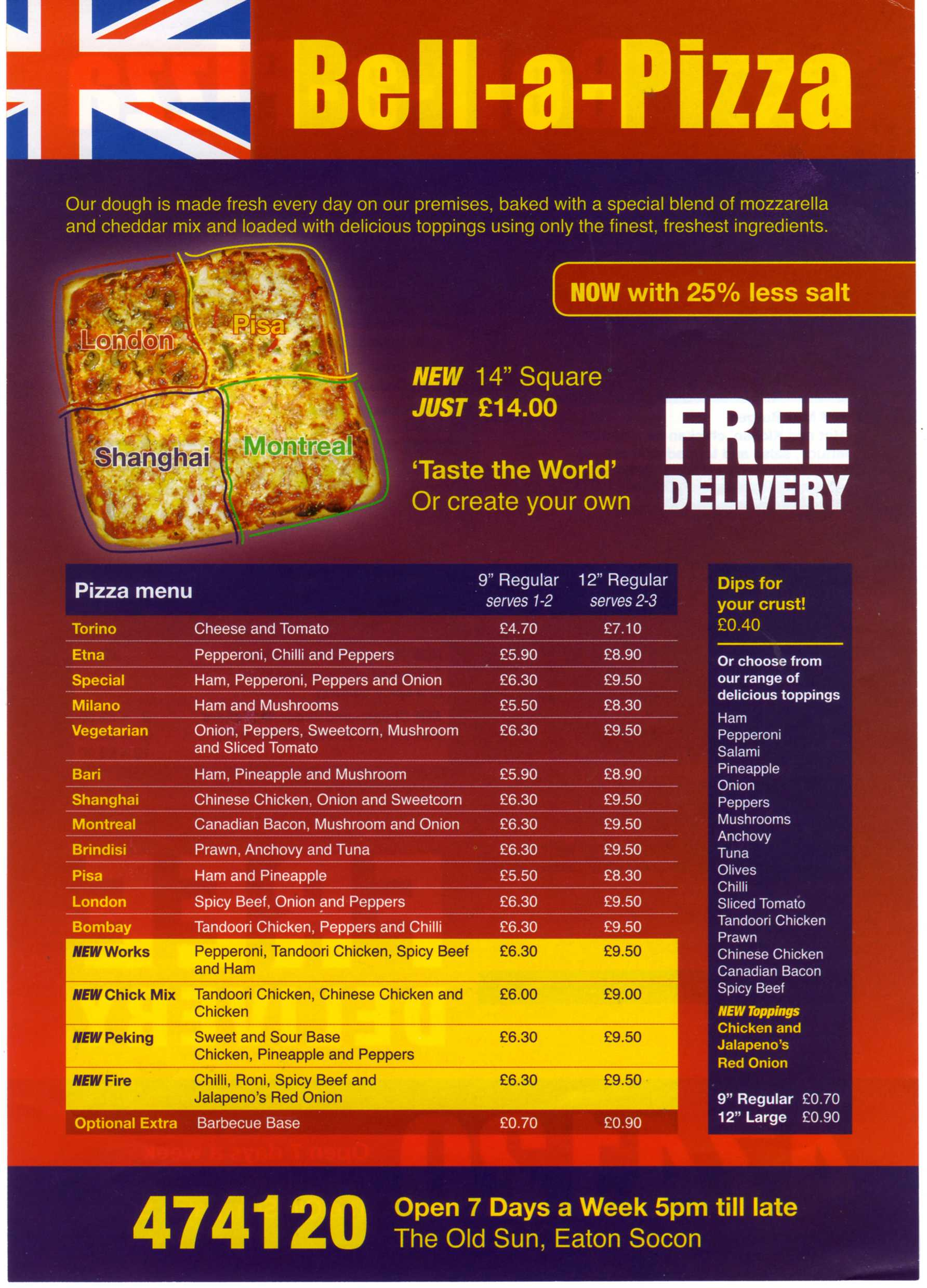 Bell A Pizza Menu From The Old Sun Eaton Socon Eaton