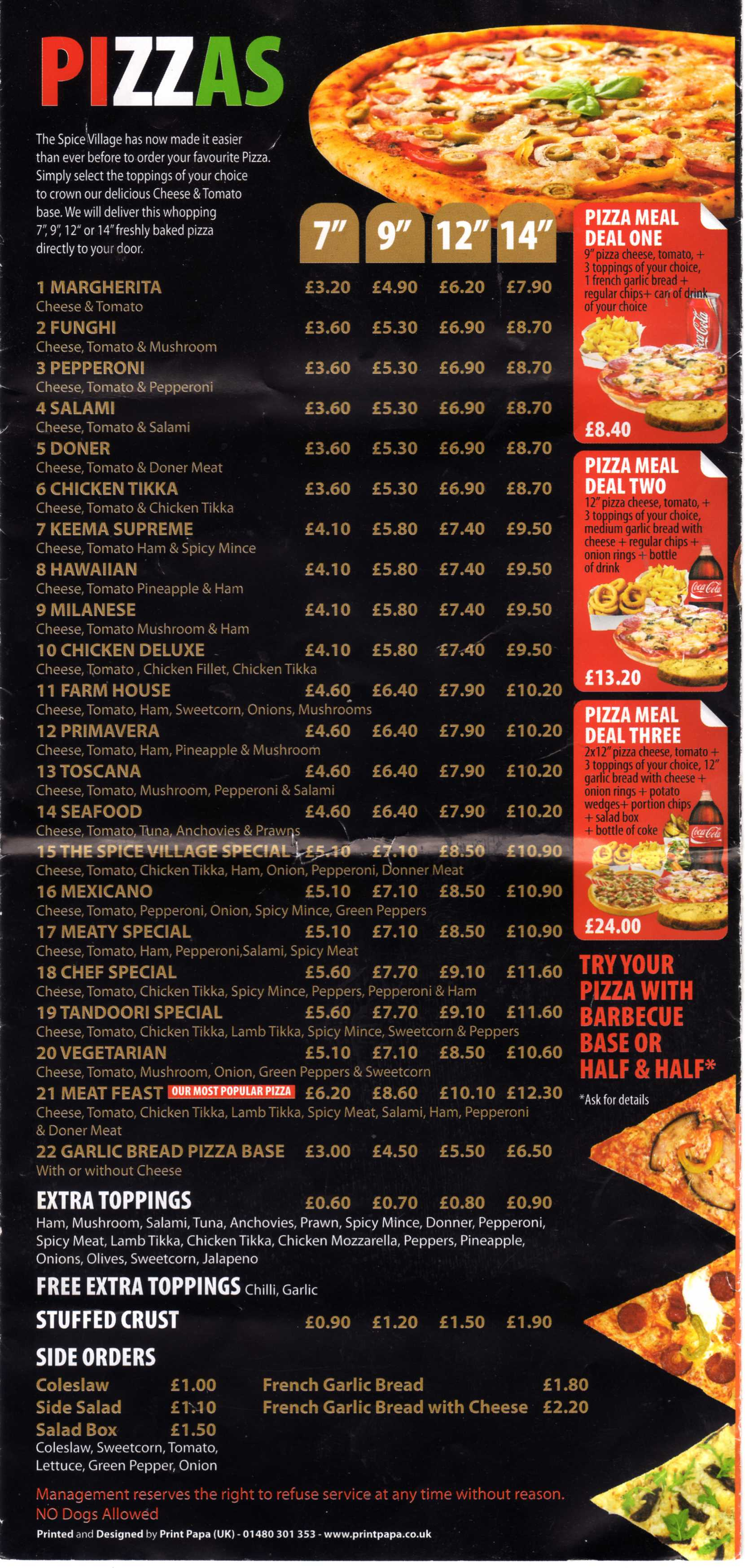 Spice Village Takeaway Menu 154 St Neots Road Eaton Ford
