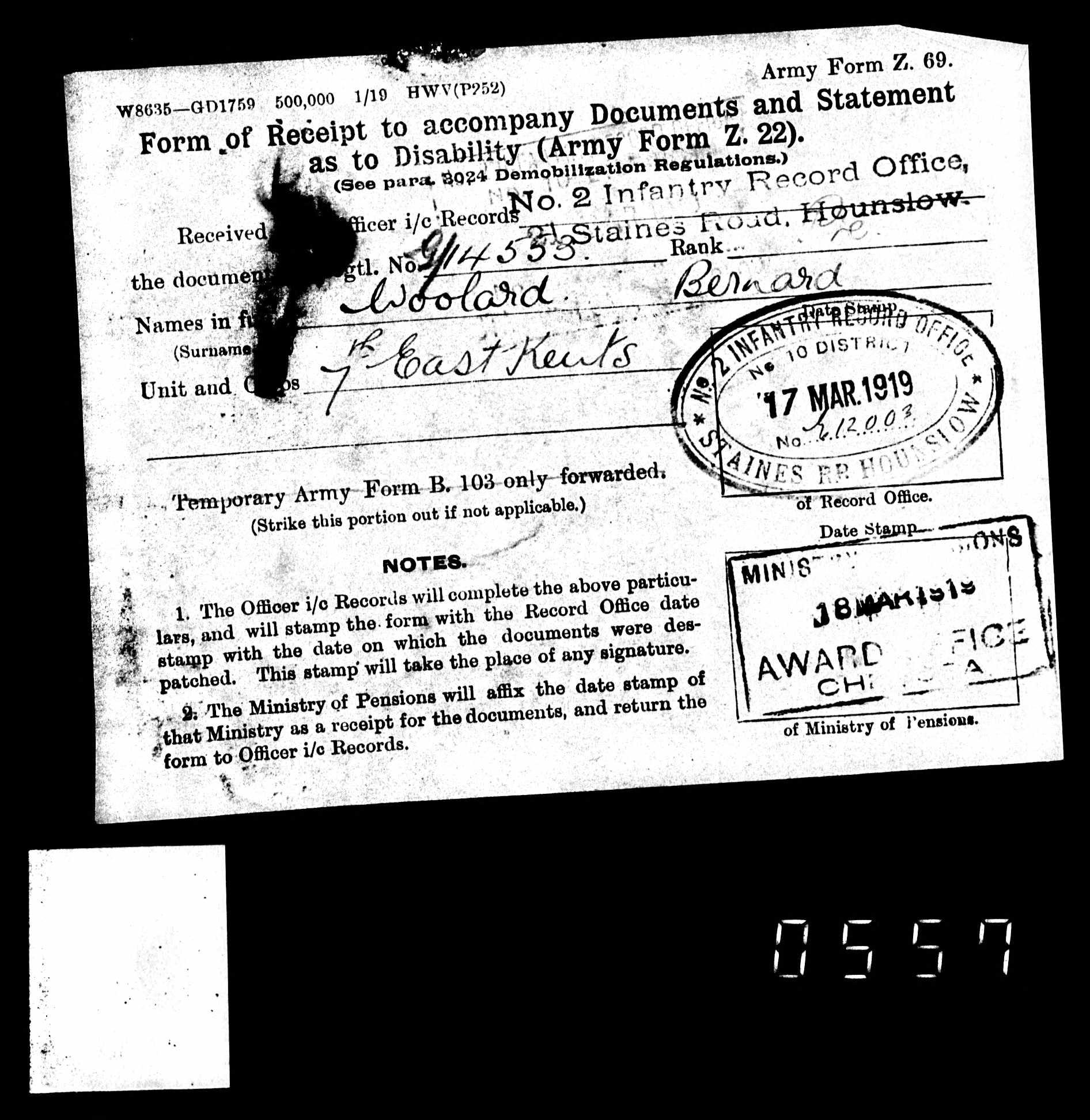 Pte Bernard Woolard from Gorefield | Soldiers - before